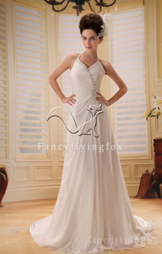 modern and elegant white chiffon halter a-line floor length destination wedding dress Y-010