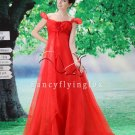 classic red organza off the shoulder empire prom dress with chapel train Y-078