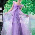 charming lavender organza off the shoulder prom dress Y-078