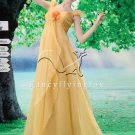 stunning champagne straps empire floor length organza prom dress Y-078