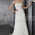 classic white satin strapless a-line floor length modest wedding dress IMG-2645