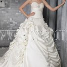 classic and traditional spaghetti straps white satin ball gown floor length wedding dress IMG-2748