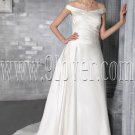 classic off the shoulder a-line floor length satin wedding dress IMG-2842
