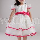 lovely jewel neck a-line short sleeves tea-length flower girl dresses IMG-2396