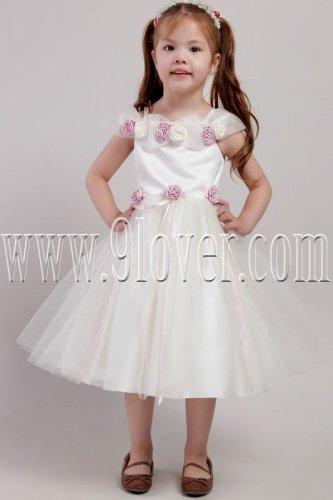 adorable white tulle scoop neck a-line tea-length flower girl dress IMG-2427