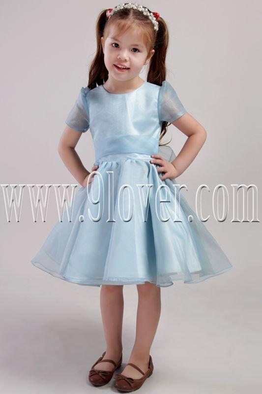 cute ice blue organza jewel neck a-line knee length short sleeves flower girl dress IMG-2446
