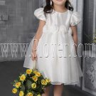 cute jewel neck white satin and tulle short sleeves tea length flower girl skirt IMG-2504