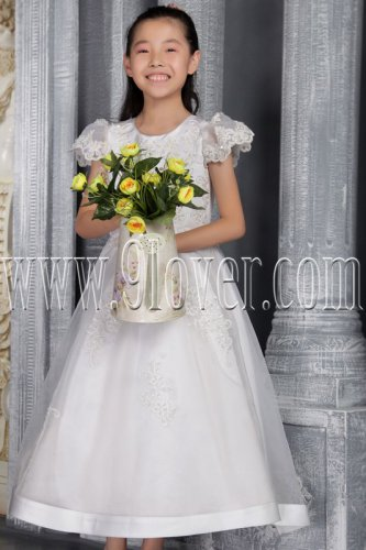formal white tulle jewel neck a-line short sleeves junior bridesmaid dress IMG-2517
