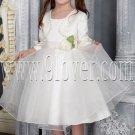 lovely satin and tulle a-line tea length white flower girl dresses with bolero IMG-2524
