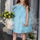 sky blue spaghetti straps organza ball gown mini length flower girls dresses IMG-2548