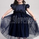 formal dark blue jewel neck a-line tea length flower girl dresses IMG-2003