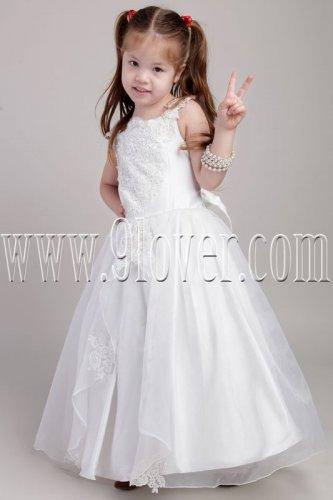 lovely white tulle straps ball gown floor length flower girl dresses IMG-2040