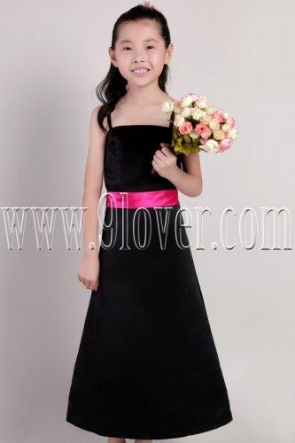 formal black satin spaghetti straps a-line floor length junior flower girl dresses IMG-2184