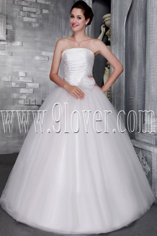 elegant white satin and tulle strapless ball gown wedding dress IMG-2455