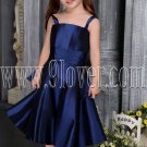 formal royal blue satin spaghetti straps a-line tea-length flower girl dress IMG-2562