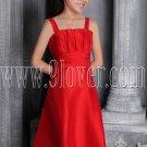 formal red satin straps a-line floor length junior bridesmaid dress IMG-2578