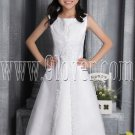 lovely white tulle scoop neck a-line tea length flower girl dress IMG-2614