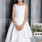 cute straps white satin a-line tea length flower girl dress IMG-2660