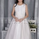 adorable white tulle jewel neckline formal flower girl dresses ING-2708