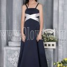 formal navy blue satin spaghetti straps a-line floor length junior evening dress MG-2724