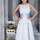 cute sky blue satin jewel neck a-line tea length flower girl dress IMG-2767