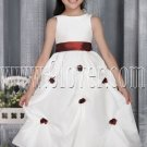 cute white taffeta jewel neck a-line tea-length flower girl dress IMG-2772
