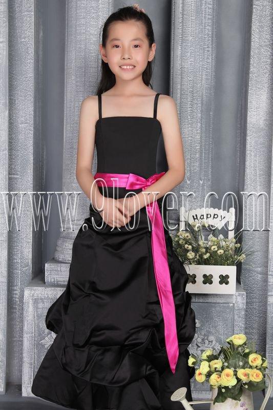 formal black satin straps a-line floor length junior evening dress with pink sash IMG-2786
