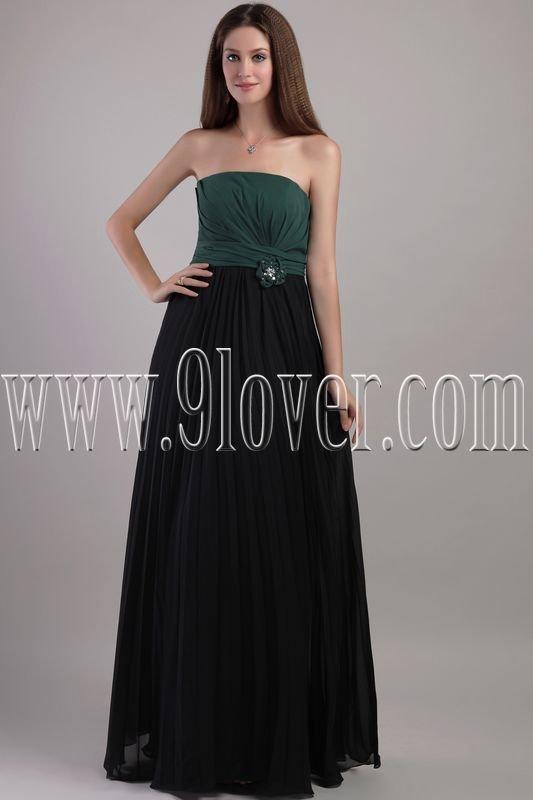 unique green and black chiffon strapless column floor length bridesmaid dress IMG-2174
