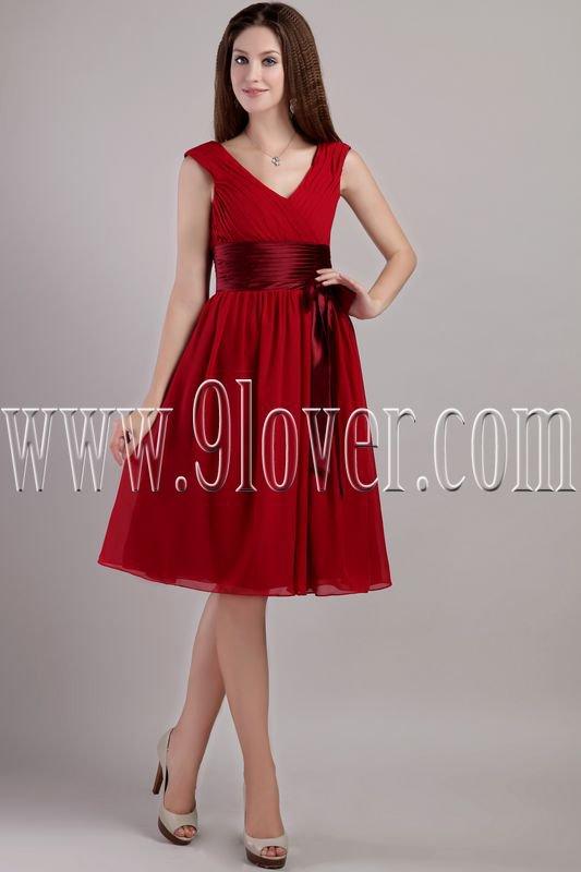 noble red chiffon v-neck a-line knee length homecoming dress IMG-2221