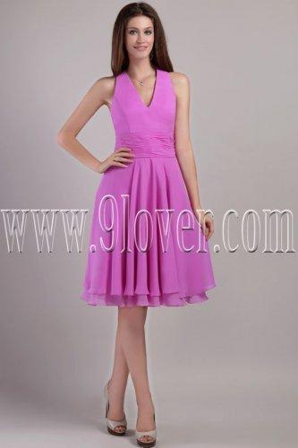 noble halter purple chiffon v-nec a-line knee length homecoming dress IMG-2256
