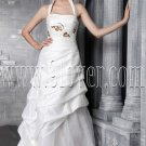 modern and classic white taffeta halter a-line floor length wedding dress IMG-2469