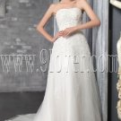 exclusive white tulle shallow sweetheart a-line floor length wedding dress with beaded bust IMG-2534