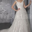 princess straps a-line floor length tulle wedding dress with appliques IMG-2682