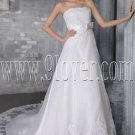 elegant white tulle strapless a-line floor length wedding dress with appliques IMG-2731
