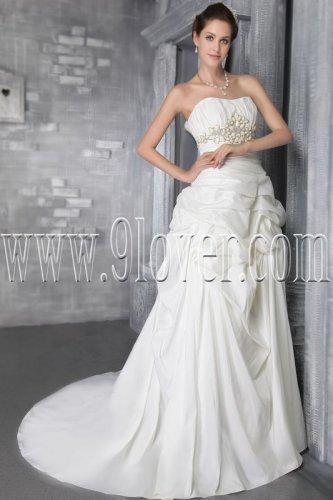stunning white satin sweetheart a-line floor length wedding dress IMG-2792