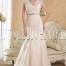 vintage light champagne lace v-neck a-line floor length wedding dress IMG-4843