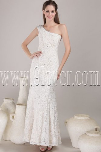 elegant white lace one shoulder a-line floor length wedding dress IMG-4517