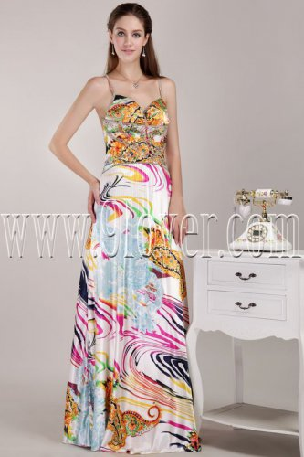bohemian printed chiffon spaghetti straps a-line floor length evening gowns IMG-4634