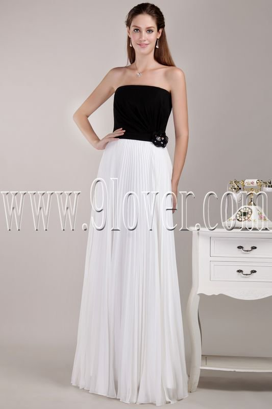 couture black and white chiffon strapless column floor length bridesmaid dress IMG-4651