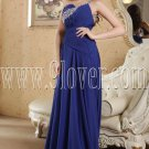 one shoulder royal blue chiffon a-line floor length formal evening dress IMG-5173