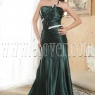 elegant green satin one shoulder a-line floor length formal evening dress IMG-5212