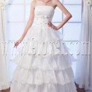 flattering strapless organza a-line floor length wedding dress with ruffles skirt IMG-0126