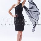 modern black chiffon one shoulder a-line mini length mother of the bride dress IMG-8486