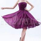 charming purple chiffon strapless knee length homecoming dress IMG-8534
