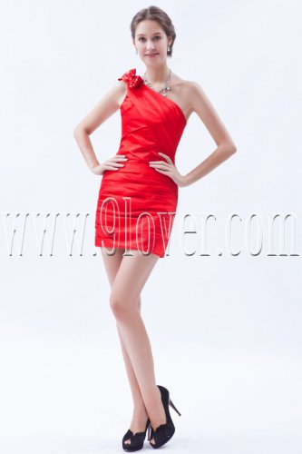 modern red taffeta one shoulder a-line mini length cocktail dress IMG-8566