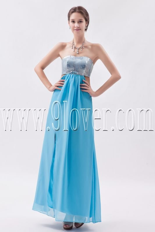 sexy sky blue chiffon strapless empire ankle length prom dress IMG-8615