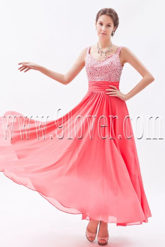 charming water melon chiffon straps a-line ankle length bridesmaid dress IMG-8709