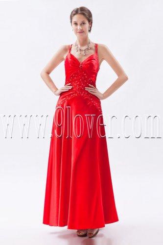 column ankle length red satin spaghetti straps bridesmaid dress IMG-8846