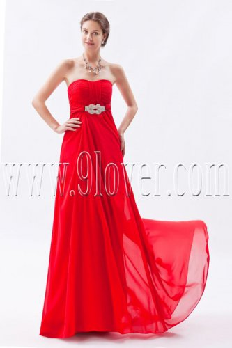 attractive red chiffon shallow sweetheart a-line floor length formal evening dress IMG-8903