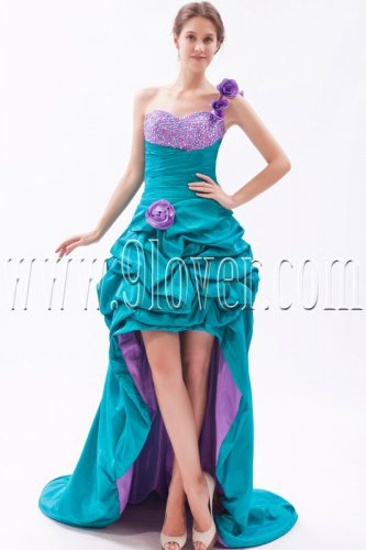 modern turquoise satin one shoulder a-line mini length cocktail dress IMG-9449